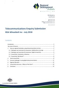 RDA Wheatbelt Telecommunications Submission Aug 2018